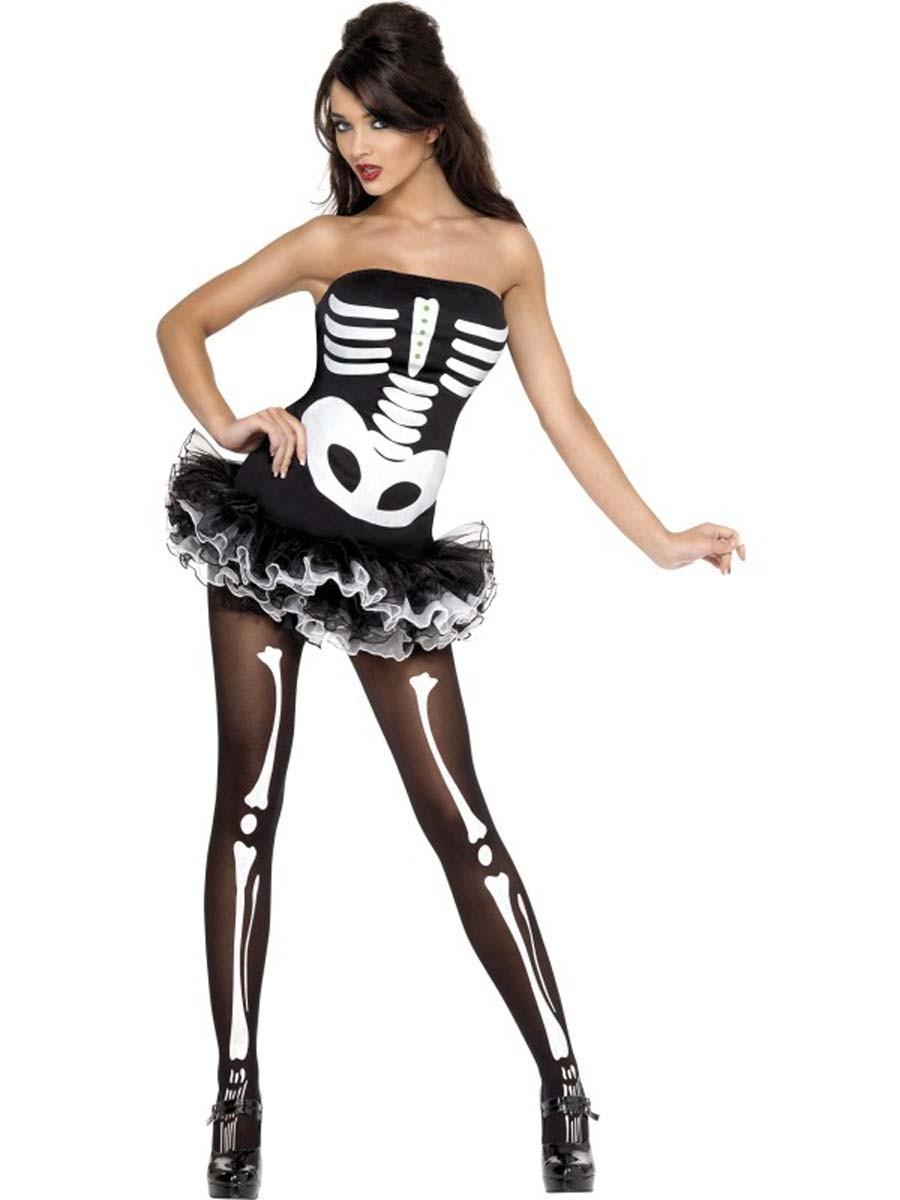 Halloween-Kostuem-sexy-Skelett-Hexe-Zombie-Tod-MIT-STRUMPFEN-Gr-36-38-40