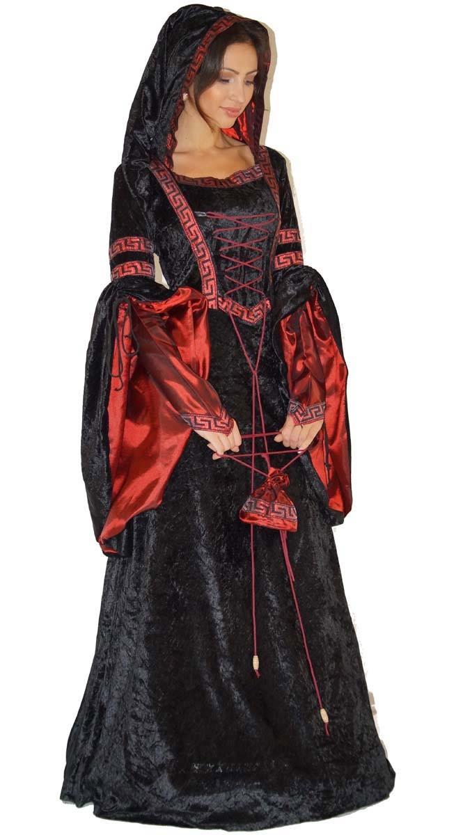 Halloween-Kostuem-Yandra-Gothic-Hexe-Vampirin-Gr-36-38-40-42-Mittelalter-Kleid