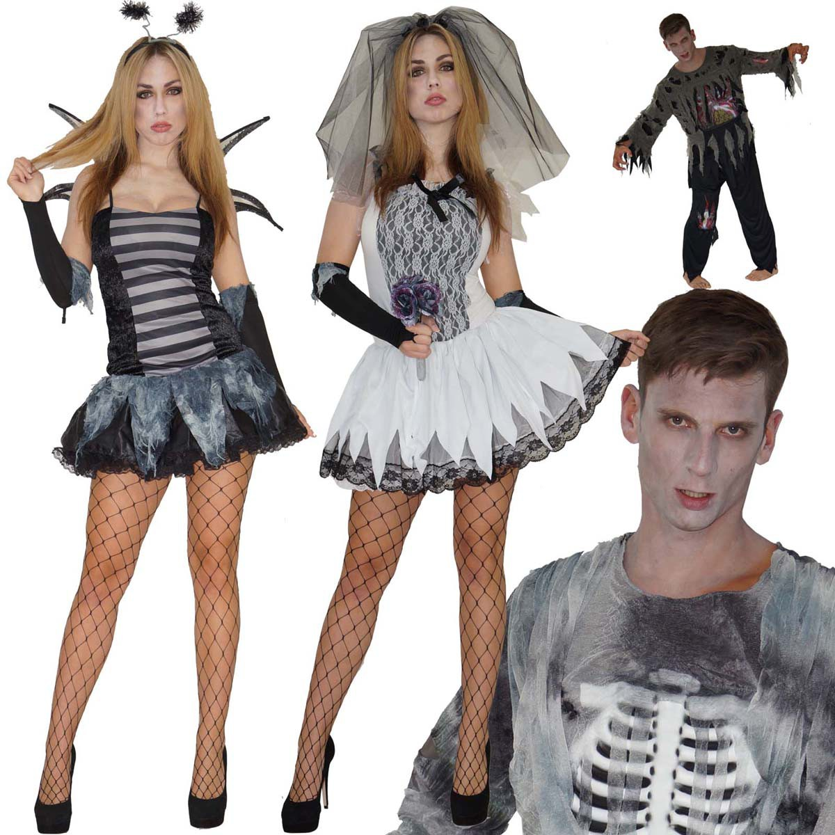 zombie kost m halloween skelett braut biene sexy horror gr s m l damen herren ebay. Black Bedroom Furniture Sets. Home Design Ideas
